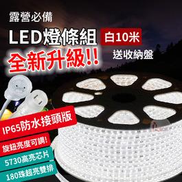 NTL18W-10 全新IP65防水接頭版 頂級5730雙排極光LED防水燈條 10米白光-180珠/m (送收納盤) LED燈帶LED露營燈限戶外使用